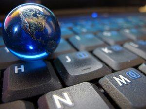 digital globe with keyboard